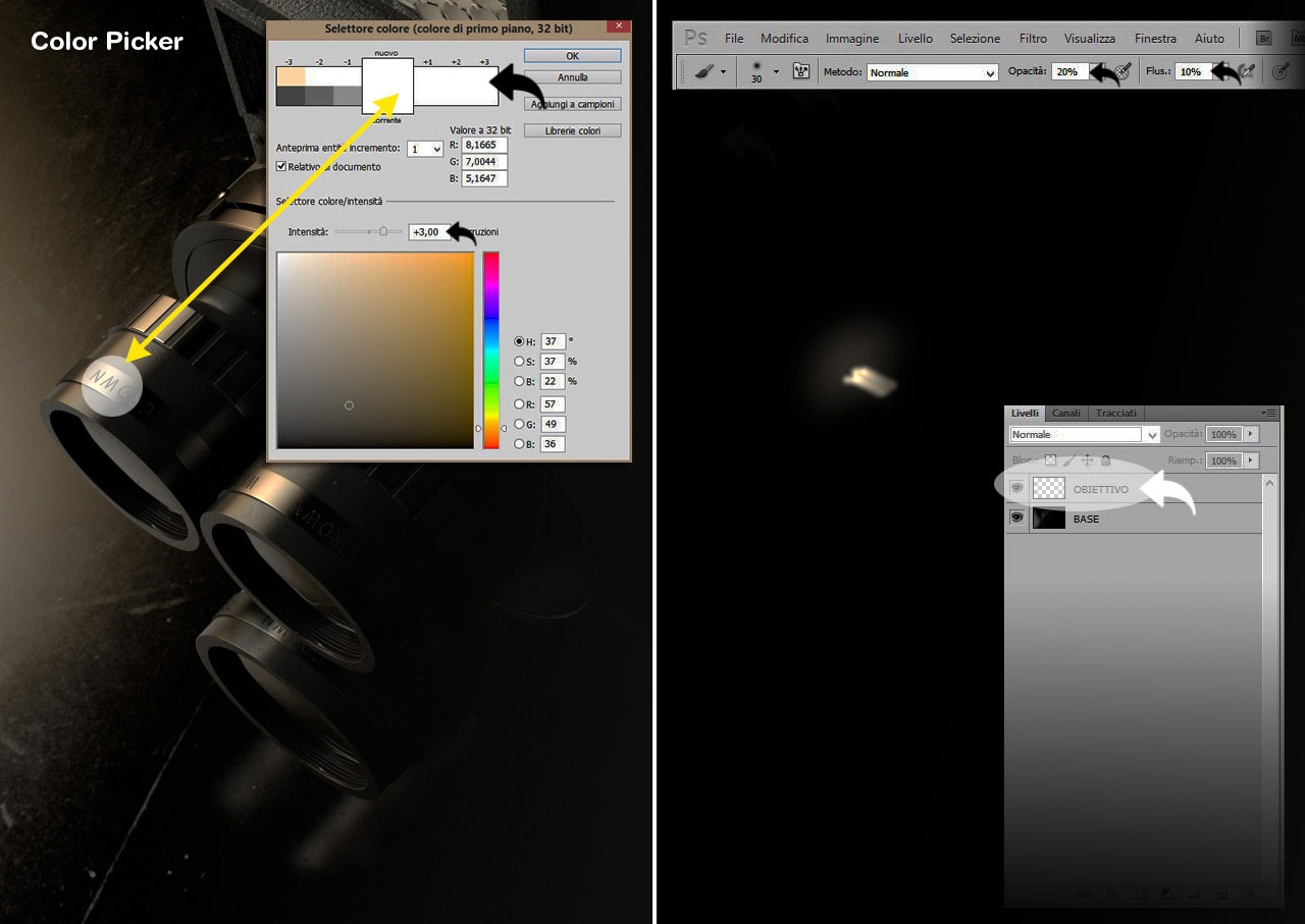 Color Picker | Con un immagine a 32 bit, la scheda proposta da Photoshop appare molto differente